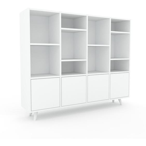 Wohnwand Weiß - Individuelle Designer-Regalwand: Türen in Weiß - Hochwertige Materialien - 156 x 130 x 35 cm, Konfigurator