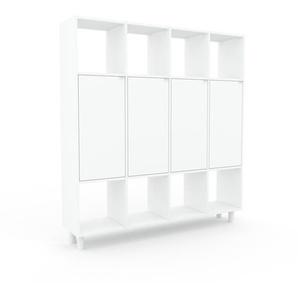 Wohnwand Weiß - Individuelle Designer-Regalwand: Türen in Weiß - Hochwertige Materialien - 156 x 168 x 35 cm, Konfigurator