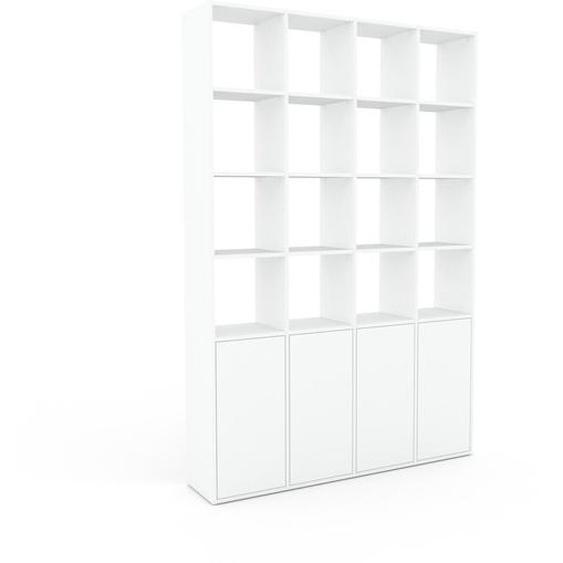 Wohnwand Weiß - Individuelle Designer-Regalwand: Türen in Weiß - Hochwertige Materialien - 156 x 233 x 35 cm, Konfigurator