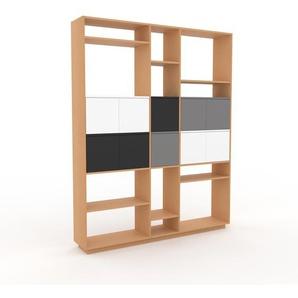 Wohnwand Buche - Individuelle Designer-Regalwand: Türen in Weiß - Hochwertige Materialien - 190 x 239 x 35 cm, Konfigurator