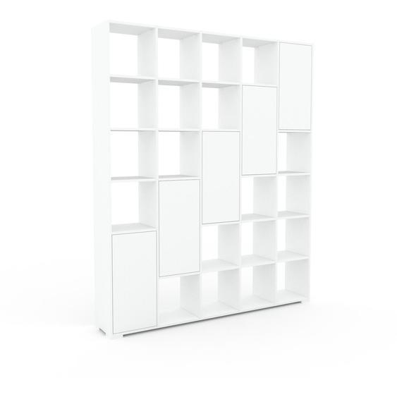 Wohnwand Weiß - Individuelle Designer-Regalwand: Türen in Weiß - Hochwertige Materialien - 195 x 235 x 35 cm, Konfigurator