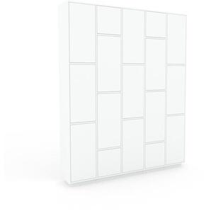 Wohnwand Weiß - Individuelle Designer-Regalwand: Türen in Weiß - Hochwertige Materialien - 195 x 239 x 35 cm, Konfigurator