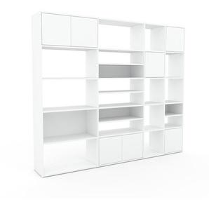 Wohnwand Weiß - Individuelle Designer-Regalwand: Türen in Weiß - Hochwertige Materialien - 229 x 195 x 35 cm, Konfigurator