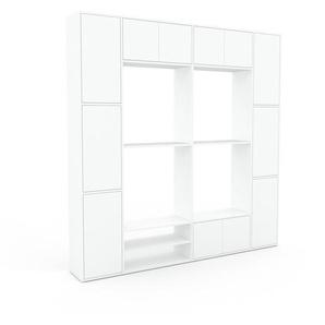 Wohnwand Weiß - Individuelle Designer-Regalwand: Türen in Weiß - Hochwertige Materialien - 229 x 233 x 35 cm, Konfigurator