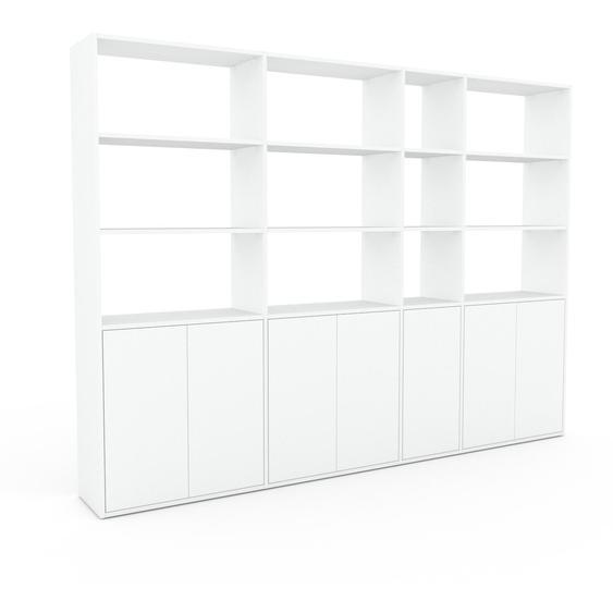 Wohnwand Weiß - Individuelle Designer-Regalwand: Türen in Weiß - Hochwertige Materialien - 265 x 195 x 35 cm, Konfigurator
