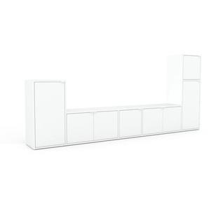 Wohnwand Weiß - Individuelle Designer-Regalwand: Türen in Weiß - Hochwertige Materialien - 267 x 118 x 35 cm, Konfigurator
