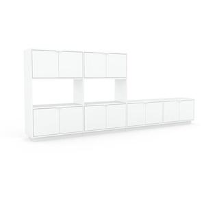 Wohnwand Weiß - Individuelle Designer-Regalwand: Türen in Weiß - Hochwertige Materialien - 301 x 124 x 35 cm, Konfigurator