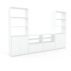 Wohnwand Weiß - Individuelle Designer-Regalwand: Türen in Weiß - Hochwertige Materialien - 301 x 195 x 35 cm, Konfigurator