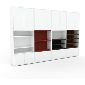 Wohnwand Weiß - Individuelle Designer-Regalwand: Türen in Weiß - Hochwertige Materialien - 301 x 196 x 35 cm, Konfigurator