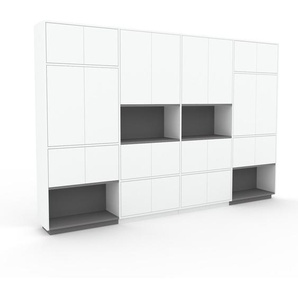 Wohnwand Weiß - Individuelle Designer-Regalwand: Türen in Weiß - Hochwertige Materialien - 301 x 200 x 35 cm, Konfigurator