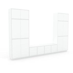 Wohnwand Weiß - Individuelle Designer-Regalwand: Türen in Weiß - Hochwertige Materialien - 306 x 200 x 35 cm, Konfigurator