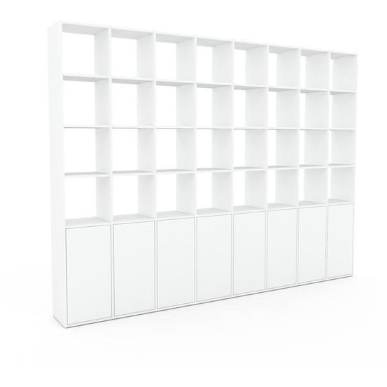 Wohnwand Weiß - Individuelle Designer-Regalwand: Türen in Weiß - Hochwertige Materialien - 310 x 233 x 35 cm, Konfigurator