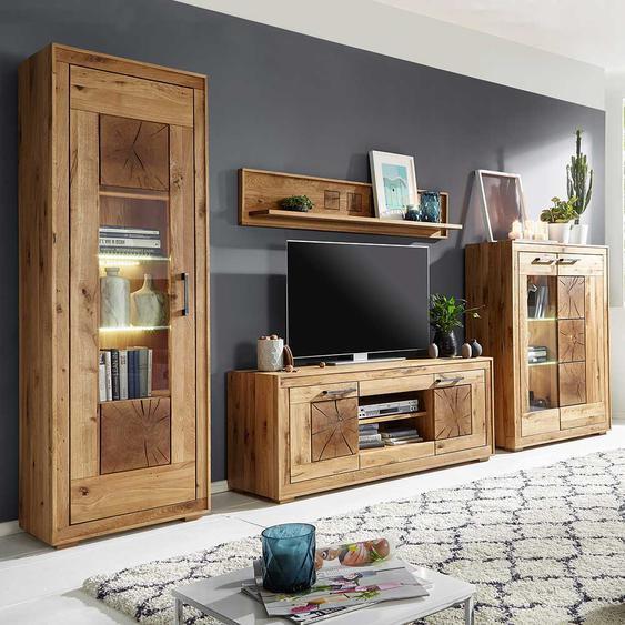 Wohnzimmer Anbauwand aus Wildeiche Massivholz rustikalen Look (4-teilig)