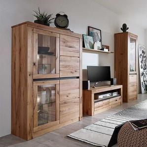 Wohnzimmer Anbauwand aus Wildeiche Massivholz Zerreiche Massivholz (vierteilig)