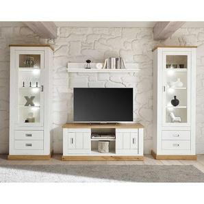 Wohnzimmer Anbauwand im Landhausstil Weiß und Wildeiche Optik (vierteilig)