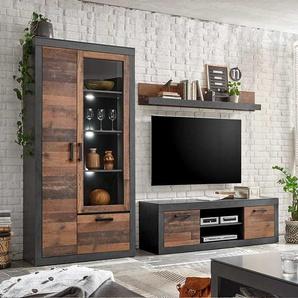 Wohnzimmer Anbauwand in Dunkelgrau und Altholz Optik Loft Design (3-teilig)