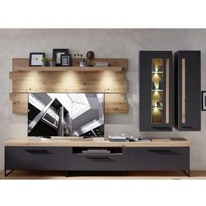 Wohnzimmer Anbauwand in Dunkelgrau und Wildeiche Optik LED Beleuchtung (fünfteilig)