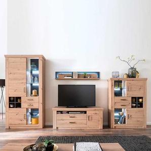 Wohnzimmer Anbauwand in Eichefarben und Anthrazit modern (vierteilig)