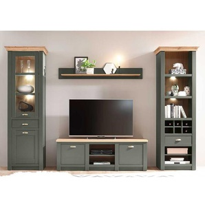 Wohnzimmer Anbauwand in Graugrün und Wildeiche Optik Landhausstil (vierteilig)