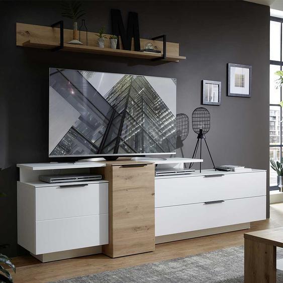 Wohnzimmer Anbauwand in Weiß und Wildeiche Optik 240 cm breit (4-teilig)