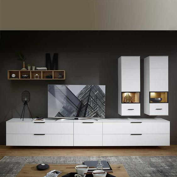 Wohnzimmer Anbauwand in Weiß und Wildeiche Optik 340 cm breit (6-teilig)