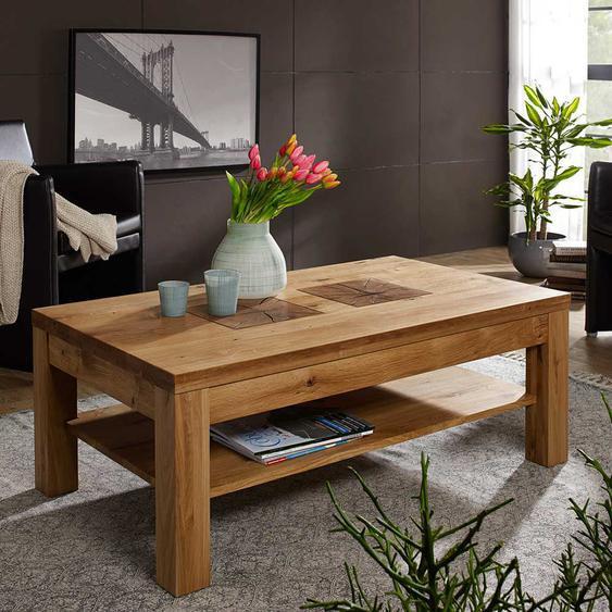 Wohnzimmer Couchtisch aus Wildeiche Massivholz modern