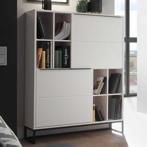 Wohnzimmer Highboard in Weiß und Schwarz 100 cm breit
