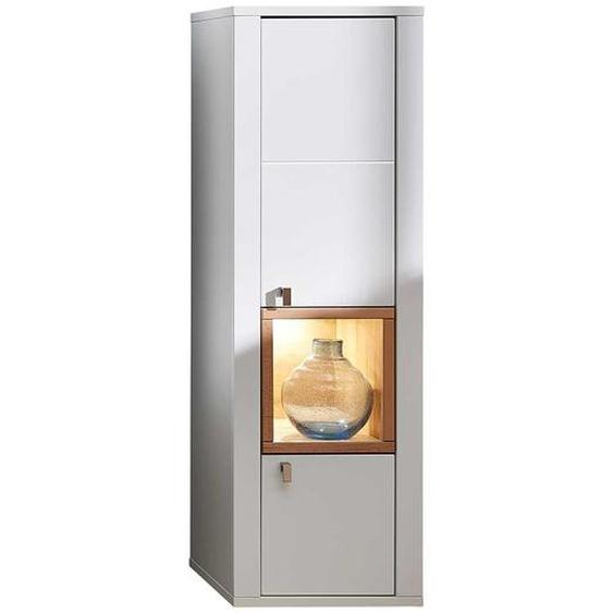 Wohnzimmer Hängeschrank in Weiß und Wildbuche Optik LED Beleuchtung