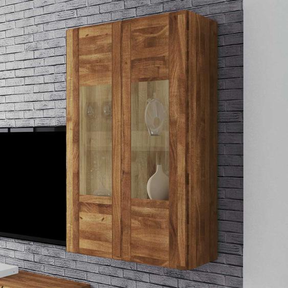 Wohnzimmer Hängevitrine aus Wildeiche Massivholz 2 türig