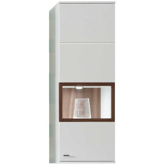Wohnzimmer Hängevitrine in Weiß und Nussbaumfarben 40 cm breit