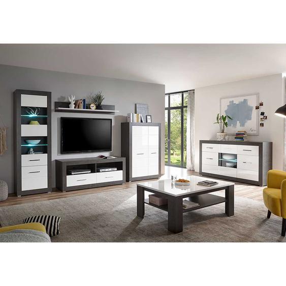 Wohnzimmer Komplettset in Weiß Hochglanz Beton Grau (6-teilig)