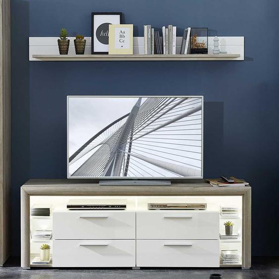 Wohnzimmer Möbel in Weiß Hochglanz und Dekor Eiche Grau LED Beleuchtung (2-teilig)