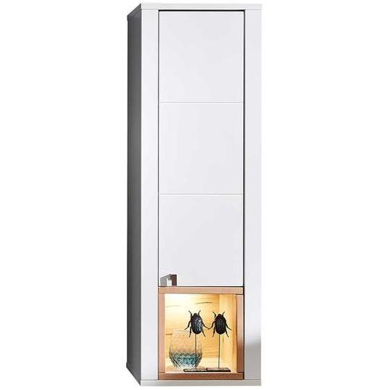 Wohnzimmer Oberschrank in Weiß und Wildbuche Optik LED Beleuchtung