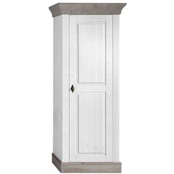 Wohnzimmer Schrank in Weiß Grau Kiefer Massivholz