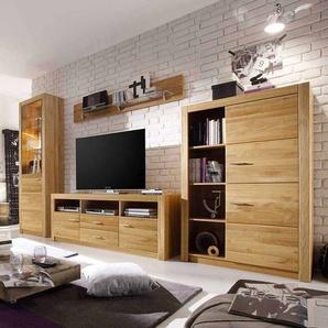 Wohnzimmer Schrankwand aus Asteiche geölt 200 cm hoch (vierteilig)
