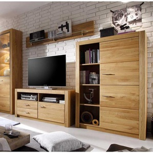 Wohnzimmer Schrankwand aus Asteiche teilmassiv geölt modern (vierteilig)