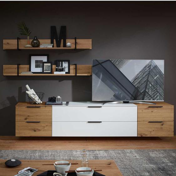 Wohnzimmer Schrankwand in Weiß und Wildeiche Optik 290 cm breit (5-teilig)