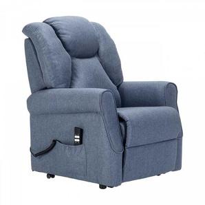 Wohnzimmer Sessel in Blau Webstoff Aufstehhilfe und mit Rollen