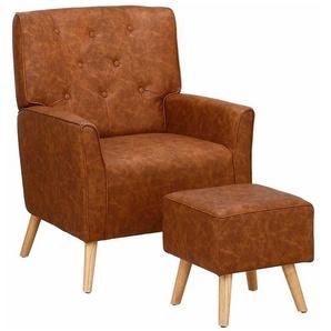 Wohnzimmer Sessel in Cognac Braun Kunstleder Retrostil (2-teilig)
