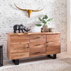 Wohnzimmer Sideboard aus Akazie Massivholz Loft Design