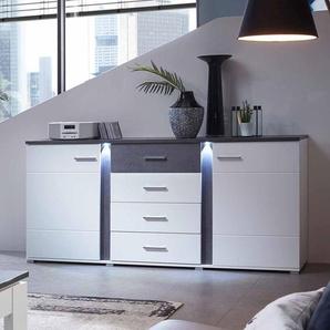 Wohnzimmer Sideboard in Wei� und Dunkelgrau LED Beleuchtung