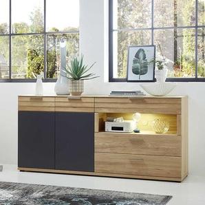 Wohnzimmer Sideboard in Wildeiche Bianco und Dunkelgrau LED Beleuchtung