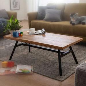 Wohnzimmer Tisch aus Mangobaum Massivholz und Edelstahl 110 cm breit