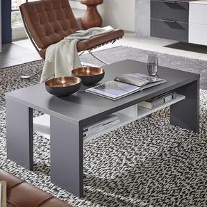 Wohnzimmer Tisch in Dunkelgrau und Wei� 110 cm breit