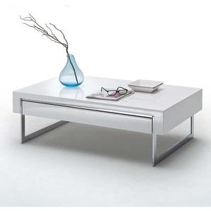 Wohnzimmer Tisch in Weiß Hochglanz und Chromfarben 110 cm breit