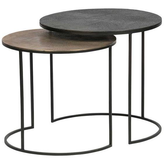 Wohnzimmer Tisch Set in Altmessingfarben und Schwarz rund (2-teilig)