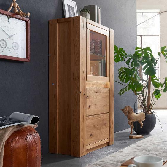 Wohnzimmer Vitrine aus Wildeiche Massivholz LED Beleuchtung