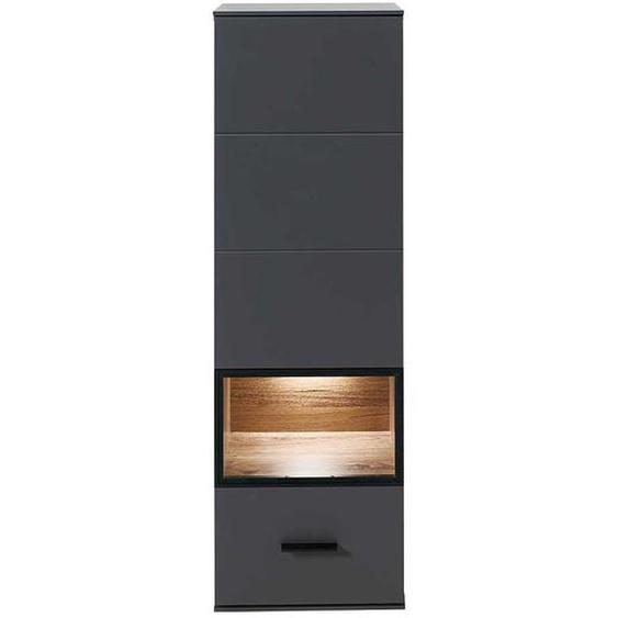 Wohnzimmer Wandvitrine in Dunkelgrau und Eiche dunkel LED Beleuchtung