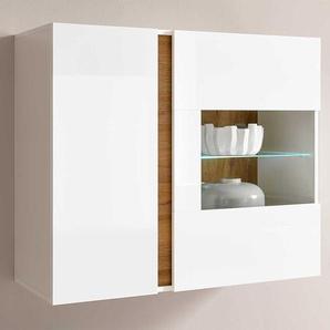 Wohnzimmer Wandvitrine in Wei� und Wildeiche Optik Skandi Design