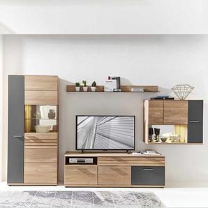 Wohnzimmer Wohnwand in Wildeiche Bianco und Dunkelgrau modern (4-teilig)